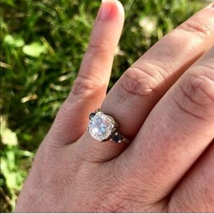 Large white sapphire and Iolite 925 SS ring